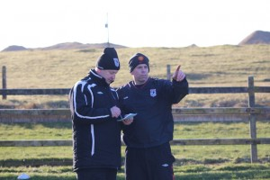 Erris Manager Martin McIntyre & Gareth O'Malley working out the logistics of it all.