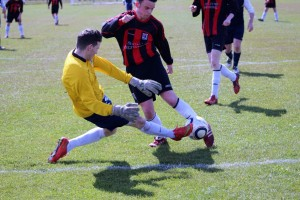 Glenhest Keeper, Mickey Davitt of Glenhest Rovers blocking a shot from Ryan Ruddy on 20 minutes but Ryan opened the scoring for Iorras three minutes later.